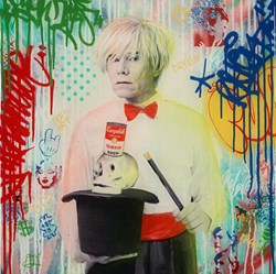 Warhol Magician II by Srinjoy - Mixed Media sized 24x24 inches. Available from Whitewall Galleries